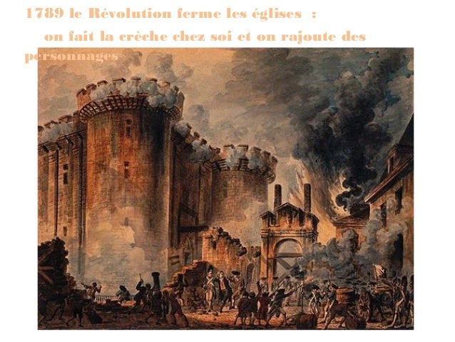 1789 le Révolution ferme les églises :  on fait la crèche chez soi et on rajoute despersonnages