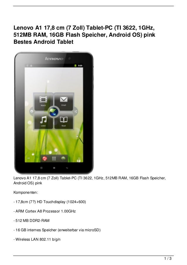 Lenovo A1 17,8 cm (7 Zoll) Tablet-PC (TI 3622, 1GHz,512MB RAM, 16GB Flash Speicher, Android OS) pinkBestes Android TabletL...
