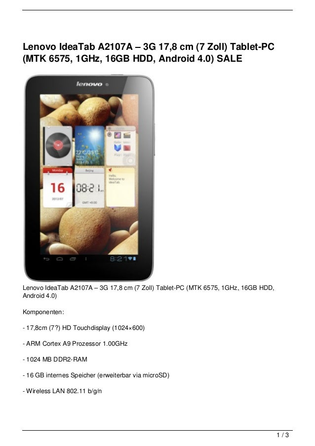 Lenovo IdeaTab A2107A – 3G 17,8 cm (7 Zoll) Tablet-PC(MTK 6575, 1GHz, 16GB HDD, Android 4.0) SALELenovo IdeaTab A2107A – 3...
