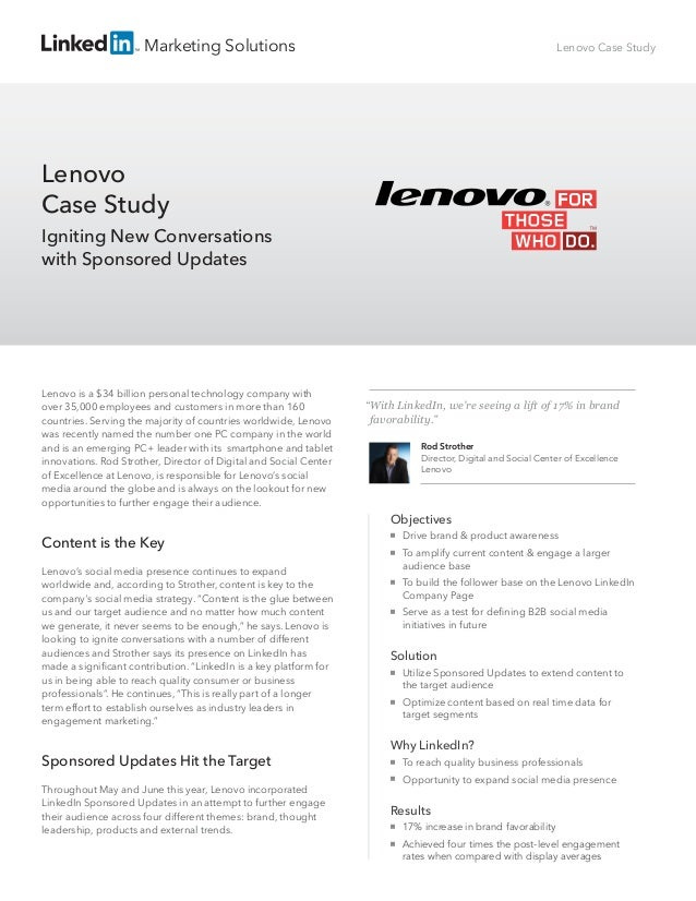 Marketing Solutions Lenovo is a $34 billion personal technology company with over 35,000 employees and customers in more t...