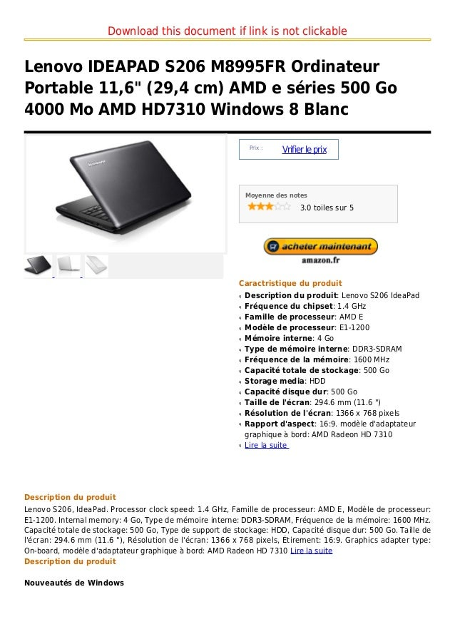 "Download this document if link is not clickableLenovo IDEAPAD S206 M8995FR OrdinateurPortable 11,6"" (29,4 cm) AMD e séries..."