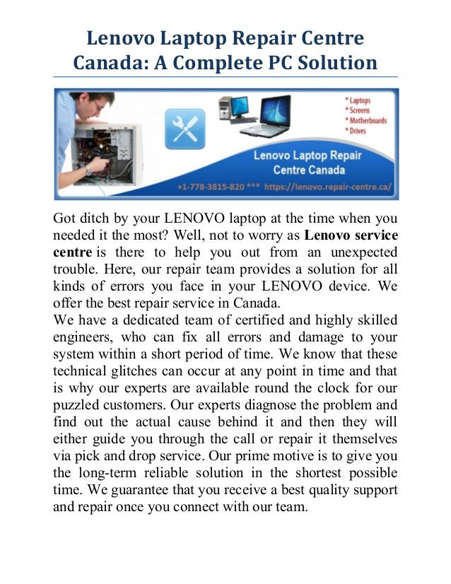 Lenovo Laptop Repair Centre Canada: A Complete PC Solution Got ditch by your LENOVO laptop at the time when you needed it ...