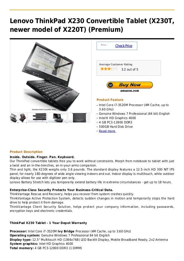 Lenovo ThinkPad X230 Convertible Tablet (X230T,newer model of X220T) (Premium)                                            ...