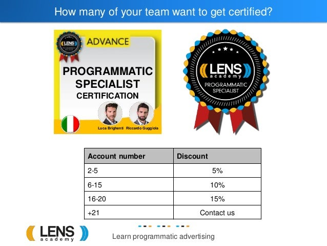 Learn programmatic advertising How many of your team want to get certified? Account number Discount 2-5 5% 6-15 10% 16-20 ...