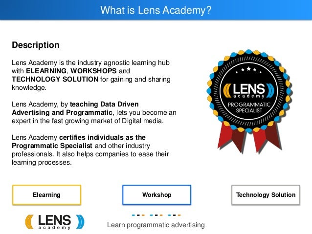Learn programmatic advertising What is Lens Academy? Description Lens Academy is the industry agnostic learning hub with E...