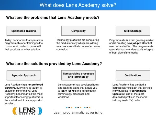 Learn programmatic advertising What does Lens Academy solve? What are the problems that Lens Academy meets? Sponsored Trai...