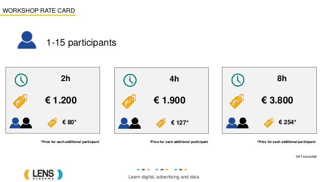 Learn digital, advertising and data WORKSHOP RATE CARD € 80* 2h € 1.200 *Price for each additional participant 1-15 partic...