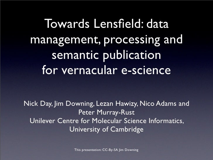 Towards Lensfield: data  management, processing and     semantic publication   for vernacular e-science  Nick Day, Jim Down...