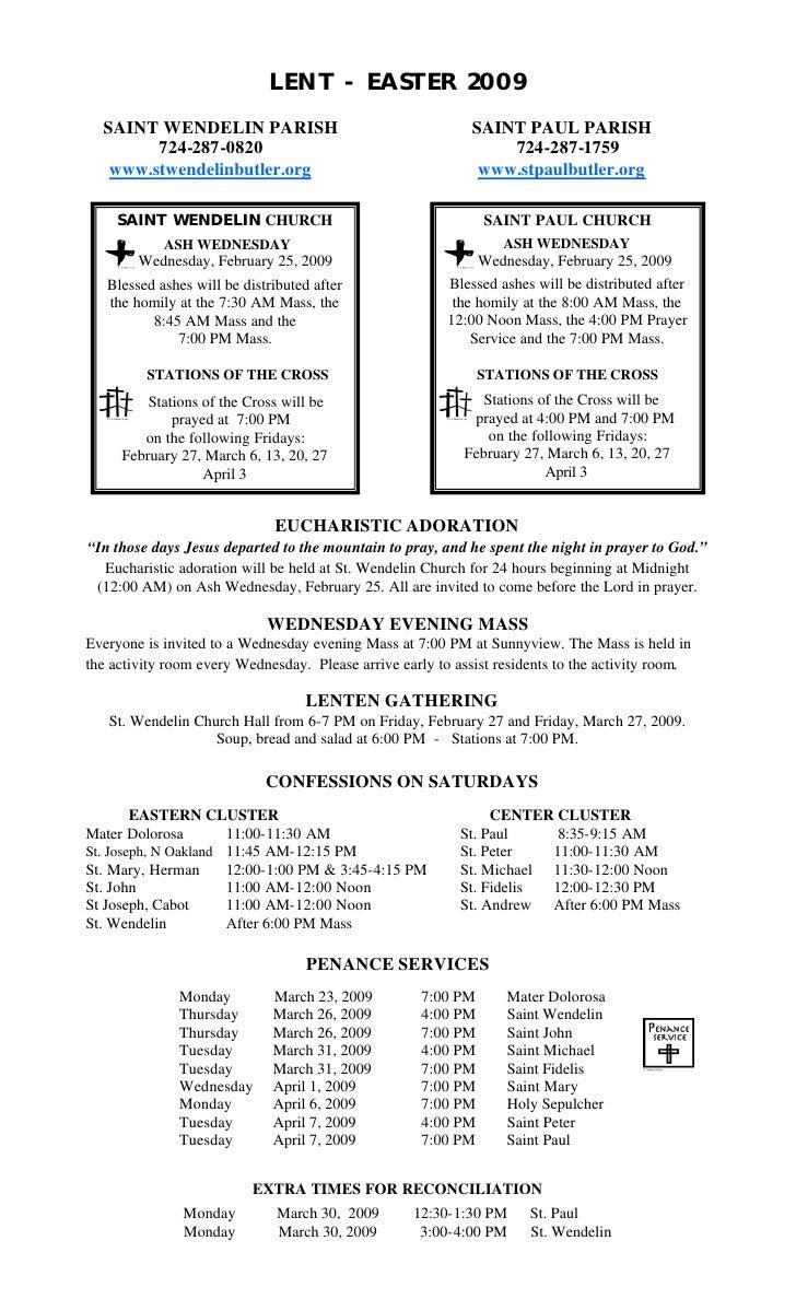 LENT - EASTER 2009   SAINT WENDELIN PARISH                                      SAINT PAUL PARISH         724-287-0820    ...