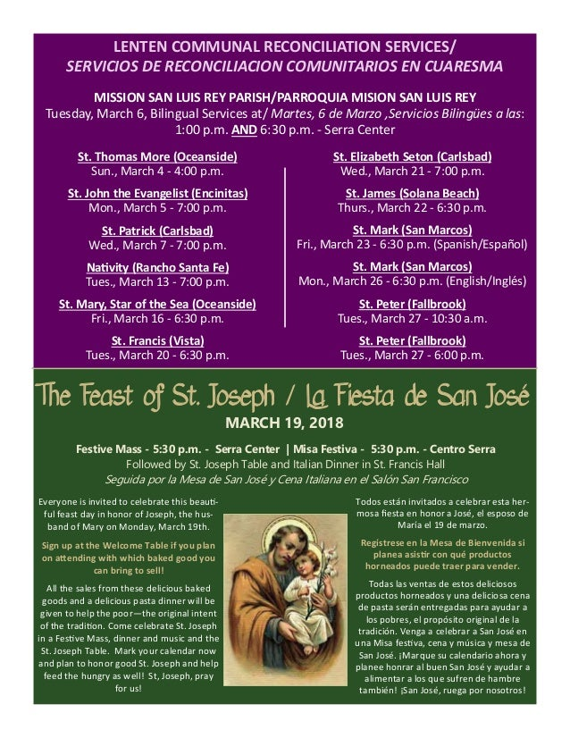 The Feast of St. Joseph / La Fiesta de San José MARCH 19, 2018 Everyone is invited to celebrate this beau ‐ ful feast day ...