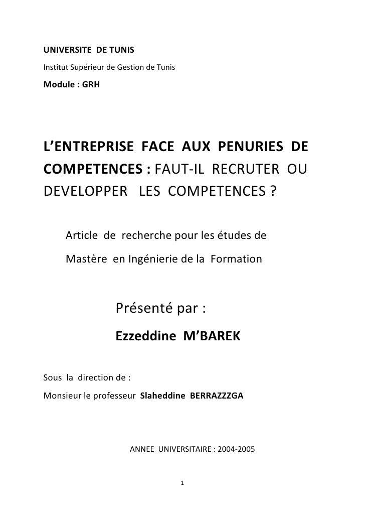 UNIVERSITE  DE TUNIS<br />Institut Supérieur de Gestion de Tunis<br />Module: GRH<br />L'ENTREPRISE  FACE  AUX  PENURIES ...