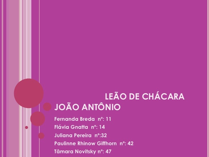 LEÃO DE CHÁCARA JOÃO ANTÔNIO <ul><li>Fernanda Breda  nº: 11 </li></ul><ul><li>Flávia Gnatta  nº: 14 </li></ul><ul><li>Juli...