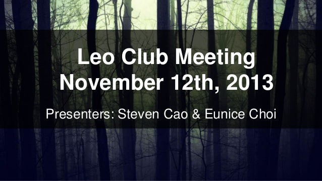 Leo Club Meeting November 12th, 2013 Presenters: Steven Cao & Eunice Choi