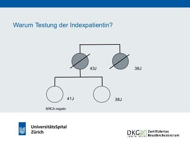 Warum Testung der Indexpatientin? 43J 61J 41J 38J BRCA negativ Keine BRCA-Mutation in der Familie: • genetische Ursache au...