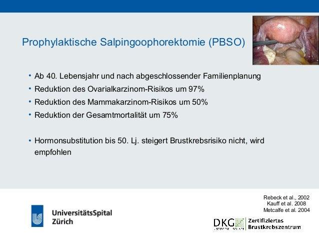 Prophylaktische Massnahmen nach Mammakarzinom • Risiko für kontralaterales Mammakarzinom bei BRCA- Mutationsträgerinnen ab...