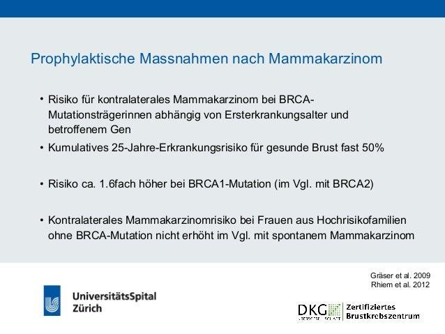 Kontralaterale prophylaktische Mastektomie • Kontralaterale Mastektomie reduziert Inzidenz des kontralateralen Mammakarzin...