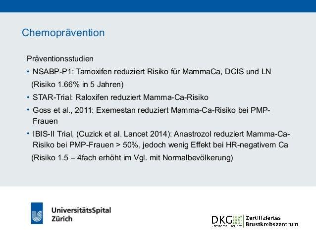 Chemoprävention • Bislang nur kleine Subgruppenanalysen für BRCA-Mutationsträgerinnen • Hinweis für Risikoreduktion bei BR...