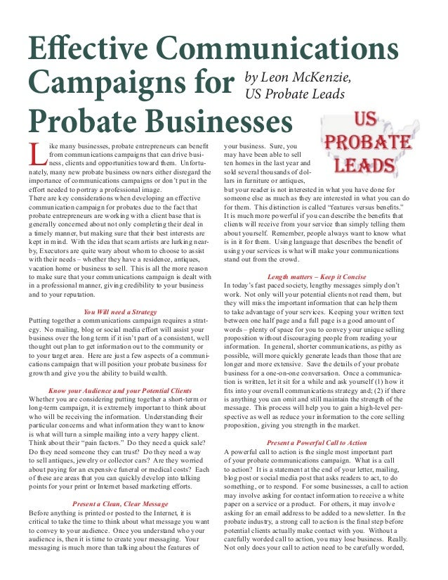 Effective Communications by Leon McKenzie, Campaigns for US Probate Leads Probate Businesses L ike many businesses, probat...