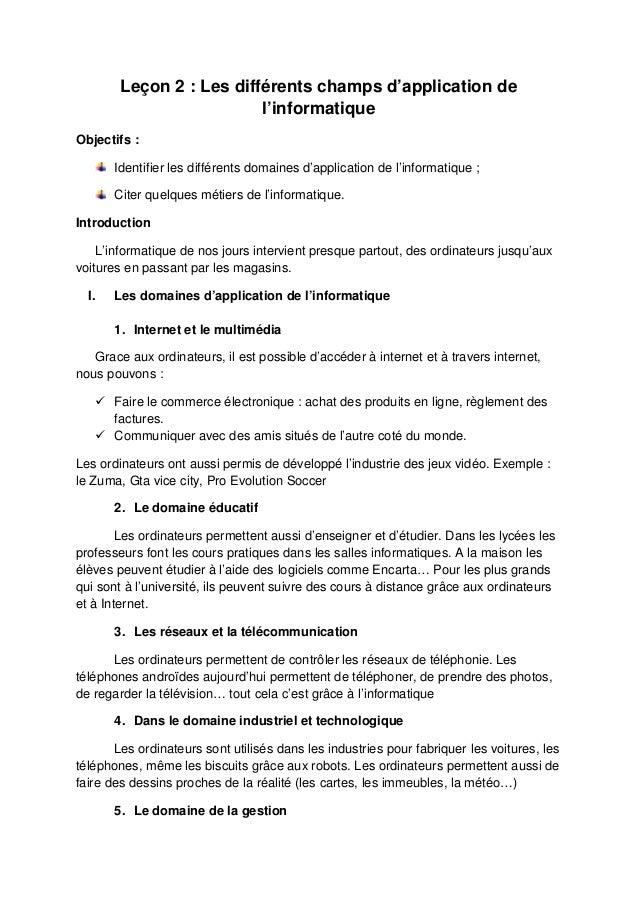 Les domaines dapplication de linformatique pdf