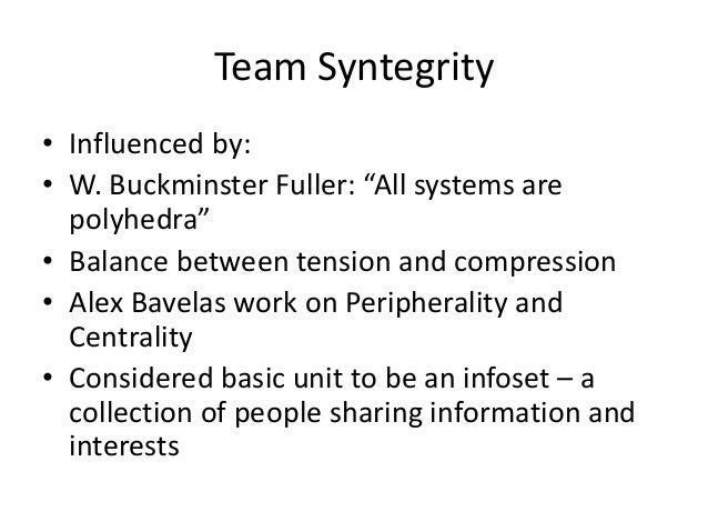 """Team Syntegrity • Influenced by: • W. Buckminster Fuller: """"All systems are polyhedra"""" • Balance between tension and compre..."""