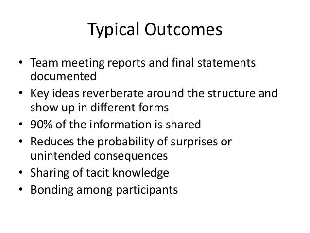 Typical Outcomes • Team meeting reports and final statements documented • Key ideas reverberate around the structure and s...