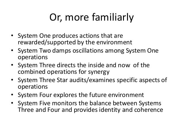 Or, more familiarly • System One produces actions that are rewarded/supported by the environment • System Two damps oscill...