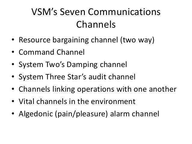 VSM's Seven Communications Channels • Resource bargaining channel (two way) • Command Channel • System Two's Damping chann...
