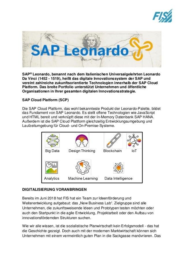 SAP® Leonardo, benannt nach dem italienischen Universalgelehrten Leonardo Da Vinci (1452 - 1519), heißt das digitale Innov...