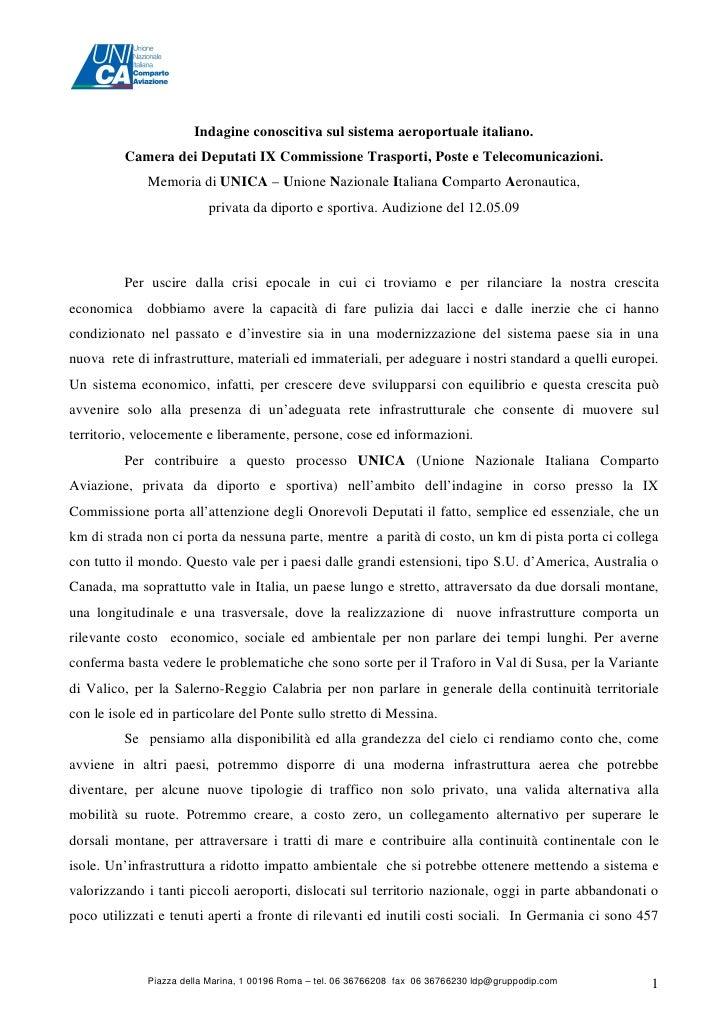 Indagine conoscitiva sul sistema aeroportuale italiano.         Camera dei Deputati IX Commissione Trasporti, Poste e Tele...