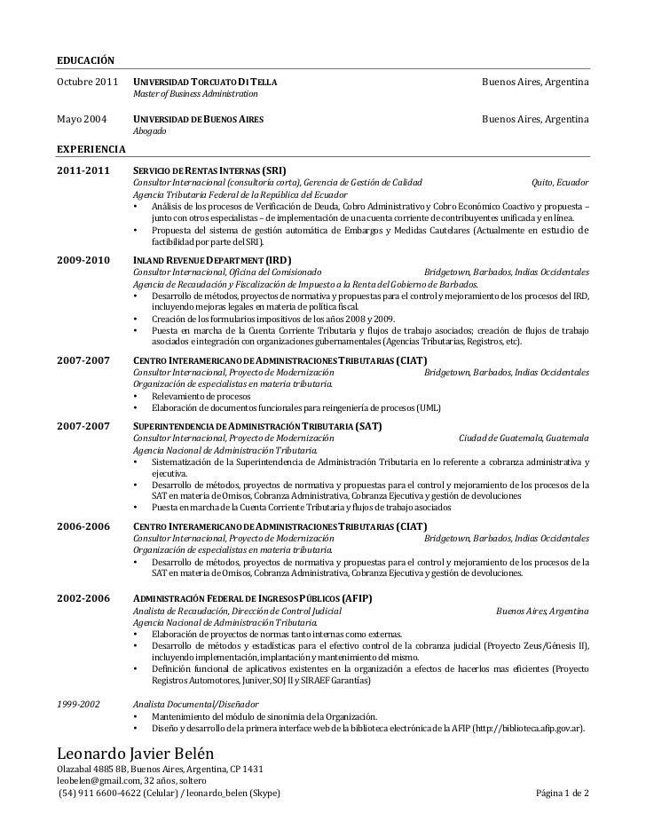Curriculum Vitae (Español)