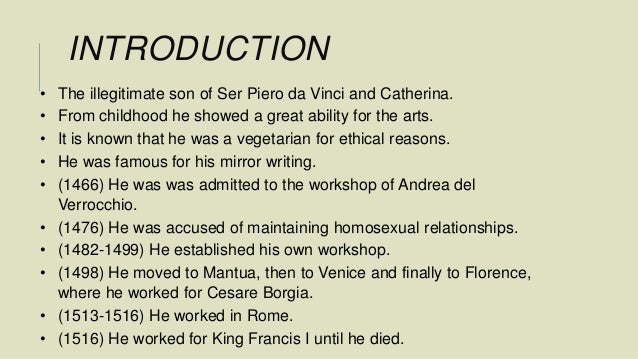 an introduction to the life of ser piero Transcript of who was a greater inventor leonardo da vinci or thomas  his full birth name was leonardo di ser piero da vinci  remained throughout his life.