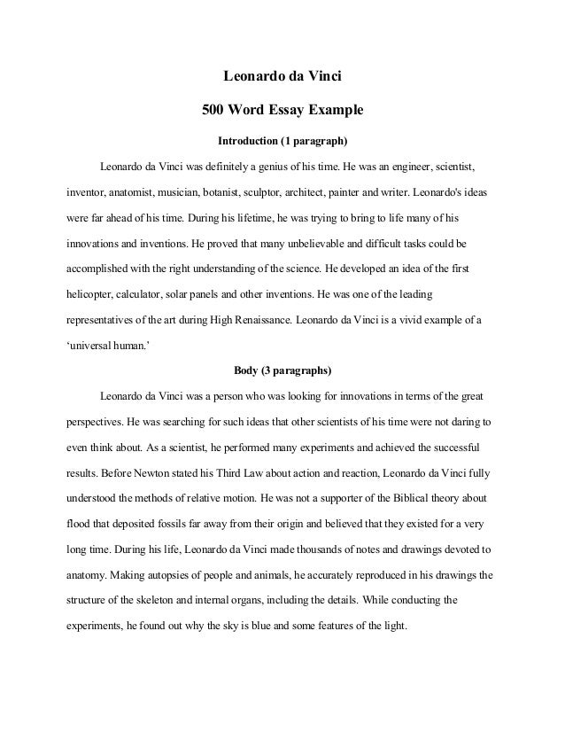 Response Essay Thesis Leonardo Da Vinci  Word Essay Example Introduction  Paragraph  Leonardo Da Vinci Was  Narrative Essay Papers also Thesis Statement Example For Essays Leonardo Da Vinci  Word Essay Example Research Essay Topics For High School Students