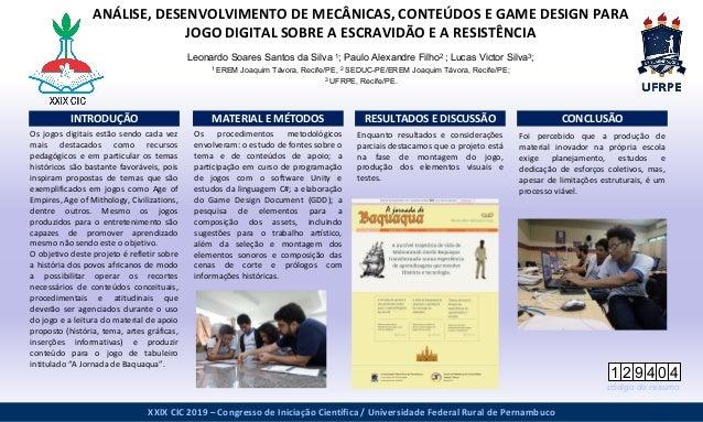 www.postersession.com Os procedimentos metodológicos envolveram: o estudo de fontes sobre o tema e de conteúdos de apoio;...