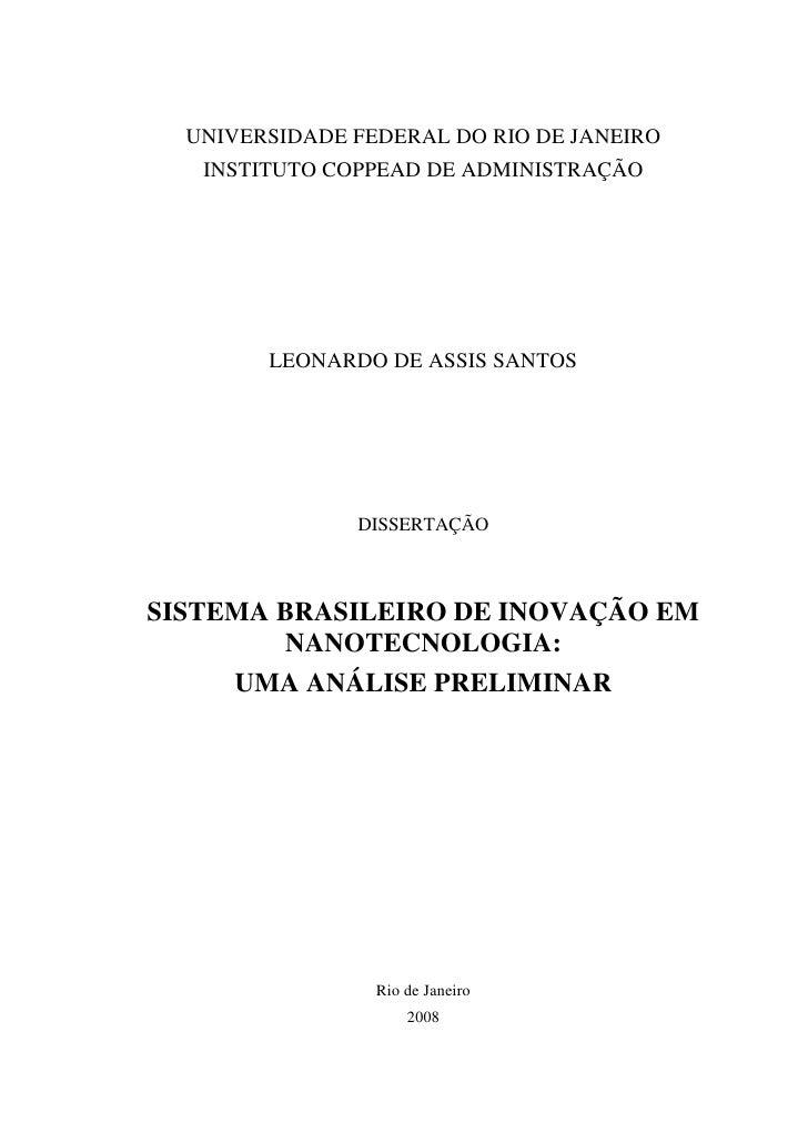 Sistema brasileiro de inovação em nanotecnologia
