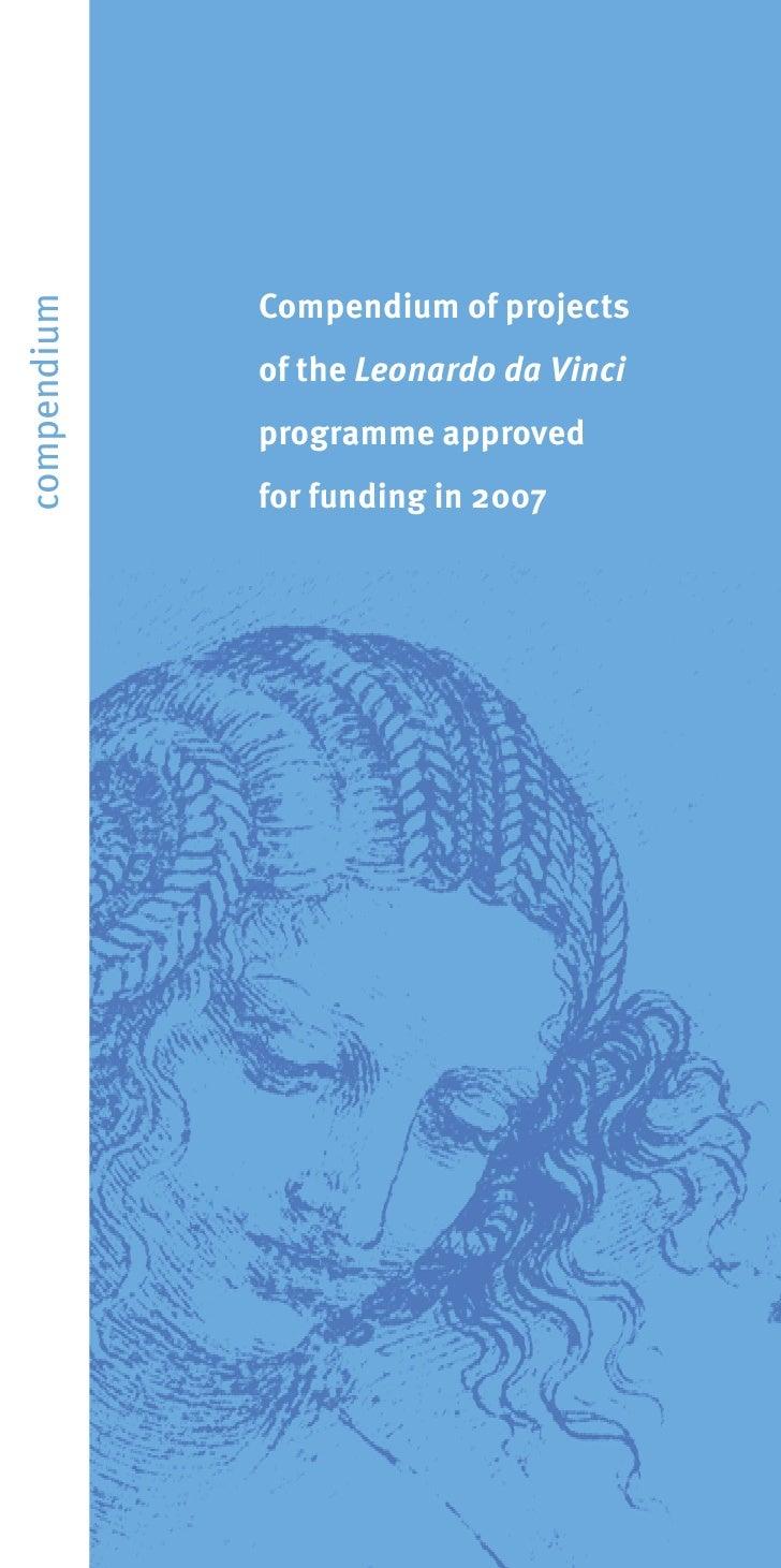 Compendium of projects compendium                  of the Leonardo da Vinci              programme approved              f...