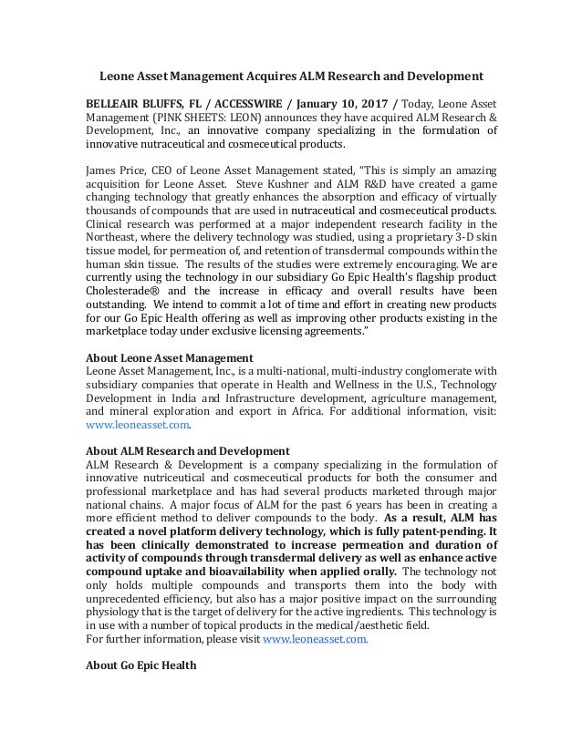 Leone  Asset  Management  Acquires  ALM  Research  and  Development      BELLEAIR  BLUFFS,  FL  /...