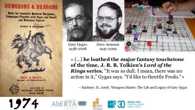 "Baseado em: Makai, Péter Kristóf (2014). Games and Gaming: Quantasy. In ""A Companion to J. R. R. Tolkien"". John Wiley & So..."