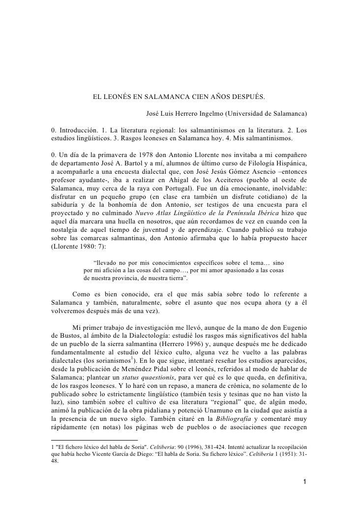 EL LEONÉS EN SALAMANCA CIEN AÑOS DESPUÉS.                                          José Luis Herrero Ingelmo (Universidad ...