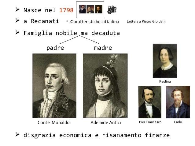  Nasce nel 1798  a Recanati caratteristiche cittadina  Famiglia nobile ma decaduta padre madre Conte Monaldo Adelaide A...