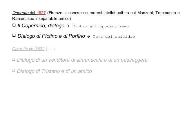  Il Copernico, dialogo  Contro antropocentrismo  Dialogo di Plotino e di Porfirio  Tema del suicidio Operette del 1827...