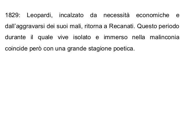 1829: Leopardi, incalzato da necessità economiche e dall'aggravarsi dei suoi mali, ritorna a Recanati. Questo periodo dura...