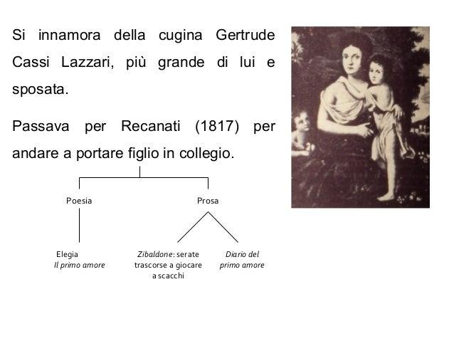 Si innamora della cugina Gertrude Cassi Lazzari, più grande di lui e sposata. Passava per Recanati (1817) per andare a por...