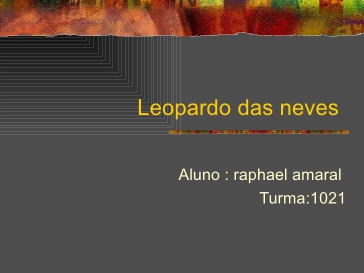 Leopardo das neves  Aluno : raphael amaral  Turma:1021