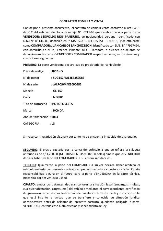 Contrato Compra Venta De Vehiculo