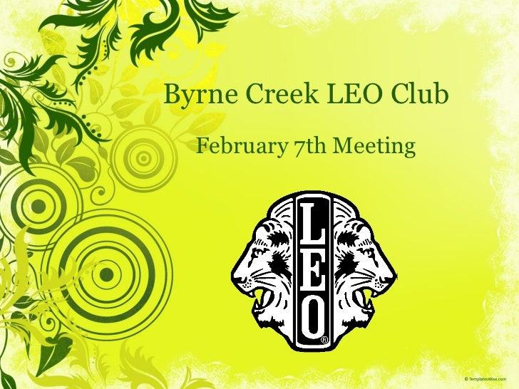 Byrne Creek LEO Club February 7th Meeting