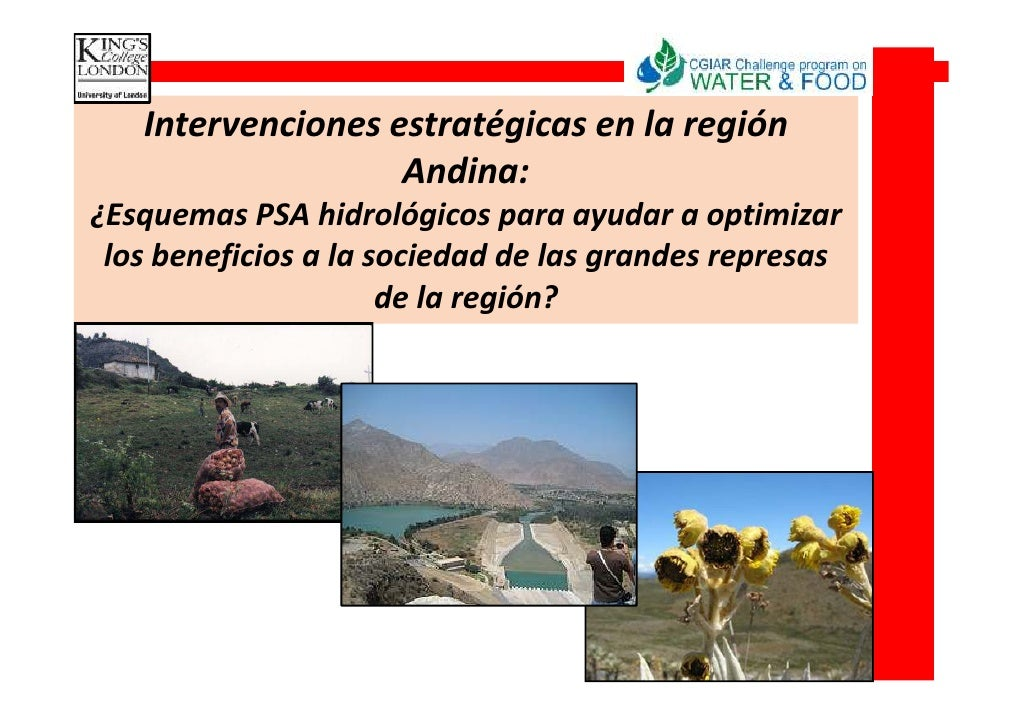 Intervenciones estratégicas en la región                    Andina: ¿Esquemas PSA hidrológicos para ayudar a optimizar  lo...