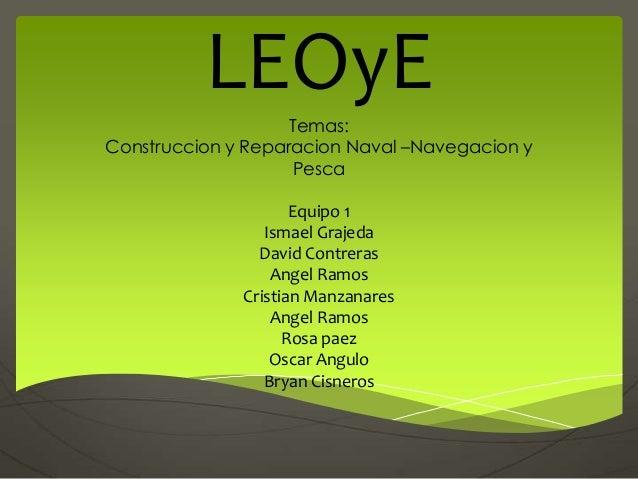 LEOyE                    Temas:Construccion y Reparacion Naval –Navegacion y                    Pesca                     ...