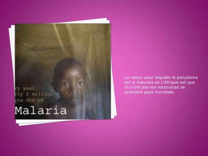La raison pour laquelle le paludismeest si mauvais en L'Afrique est queils n'ont pas les ressources sepremière pays mondia...