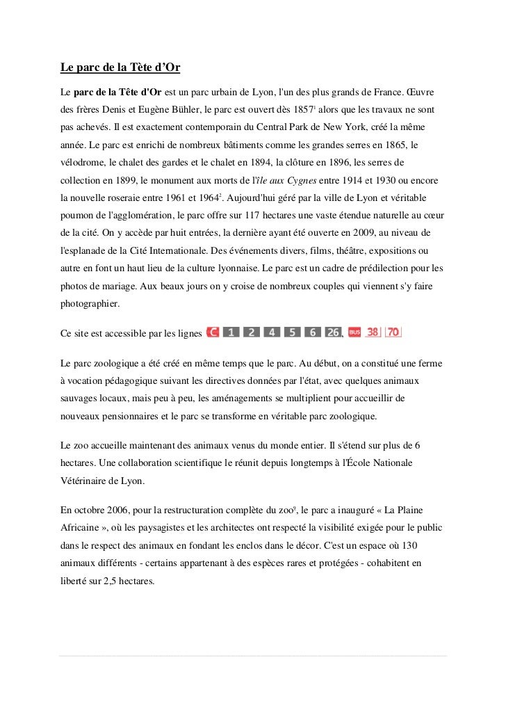 Le parc de la Tète d'OrLe parc de la Tête dOr est un parc urbain de Lyon, lun des plus grands de France. Œuvre            ...
