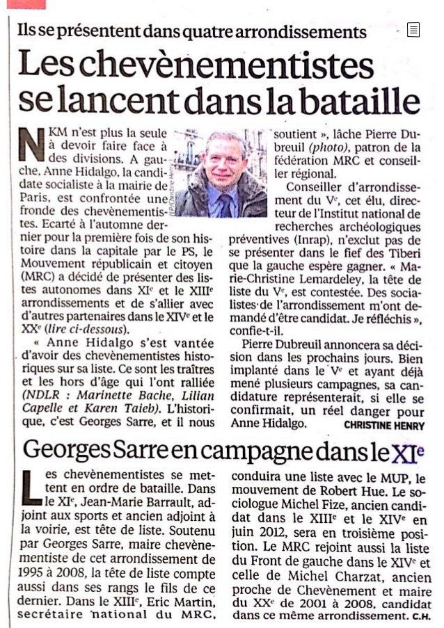 """Le Parisien 17/01/2014 """"Les chevènementistes se lancent dans la bataille"""